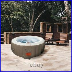 6 Person Hot Tub SPA Inflatable Heater And Bubble Jet Function Round Brown Pool