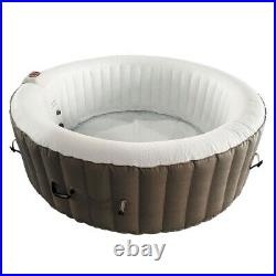 6 Person Inflatable Hot Tub Heater And Bubble Jet Function SPA Round Brown Pool