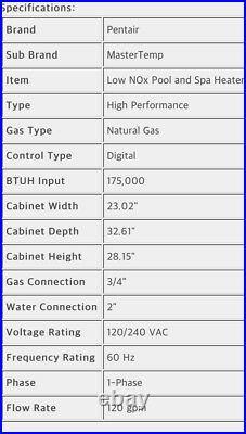 New Pentair MasterTemp Pool & Spa Heater Low Nox 175000 BTU Natural Gas 467092