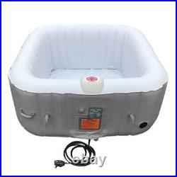 Square Hot Tub Inflatable Spa 6 Person Portable Bubble Jet Pool Outdoor w Cover